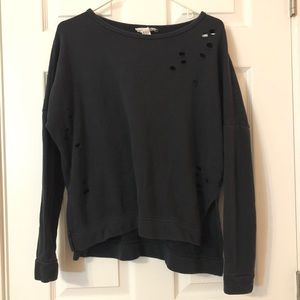 Forever 21 Black Distressed Sweater